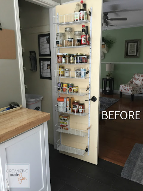 BEFORE: back of door with organizer falling apart:: OrganizingMadeFun.com