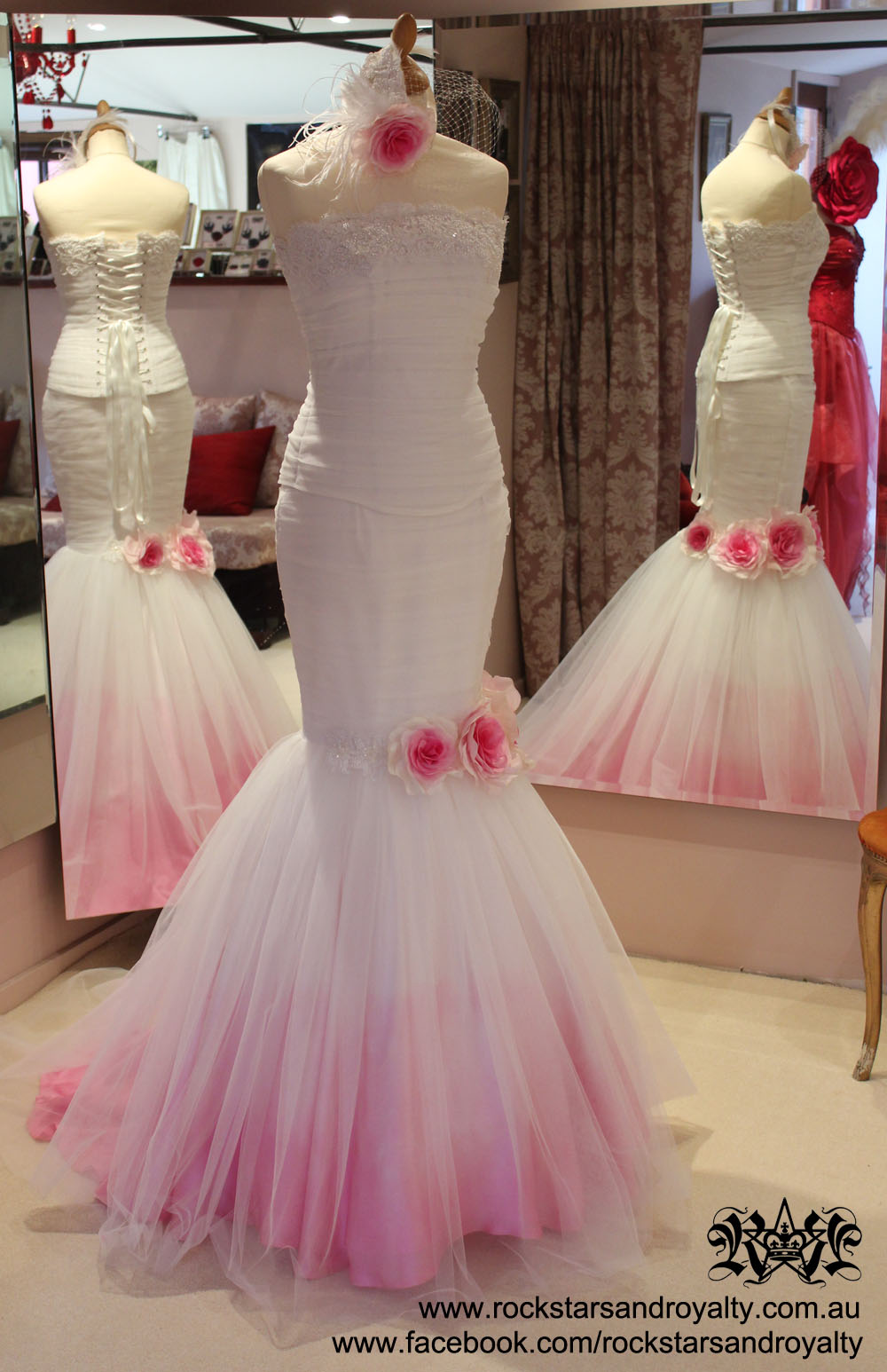 Rockstars and royalty for Pink ombre wedding dress