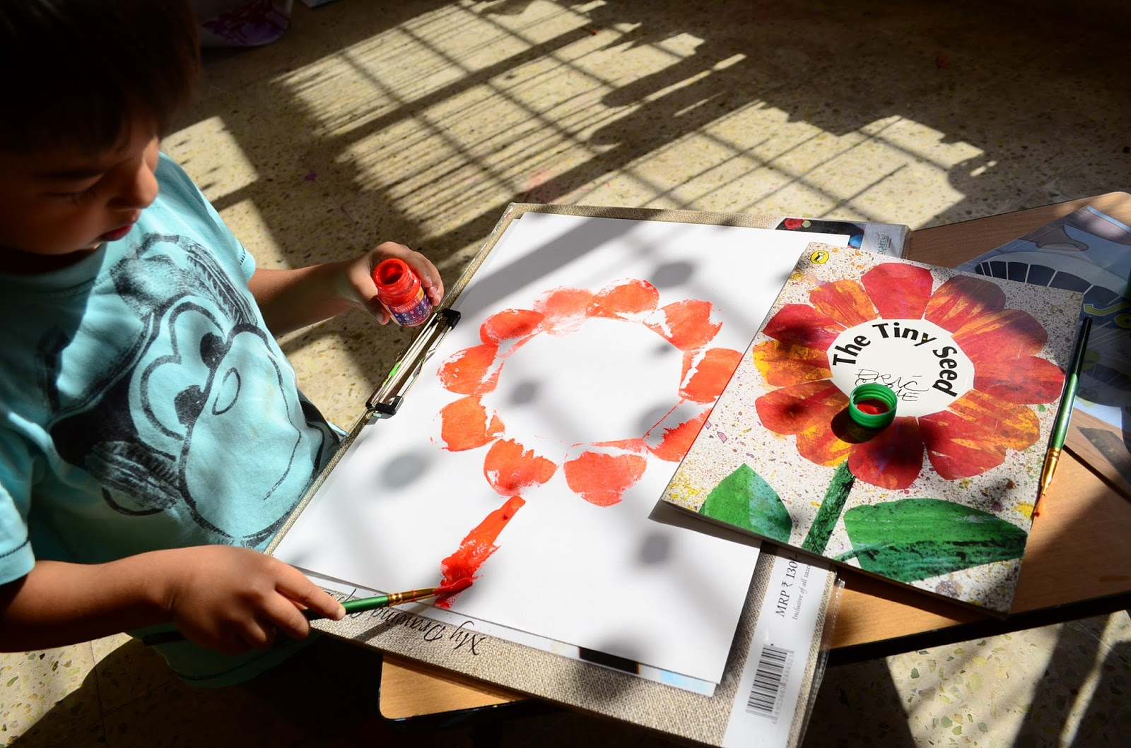 Book Based Potato Stamping: Tiny Seed & Germs Journey