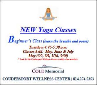 5-2/9/16 & 30 New Yoga Classes