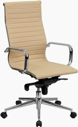 Ribbed Back Tan Leather Conference Chair