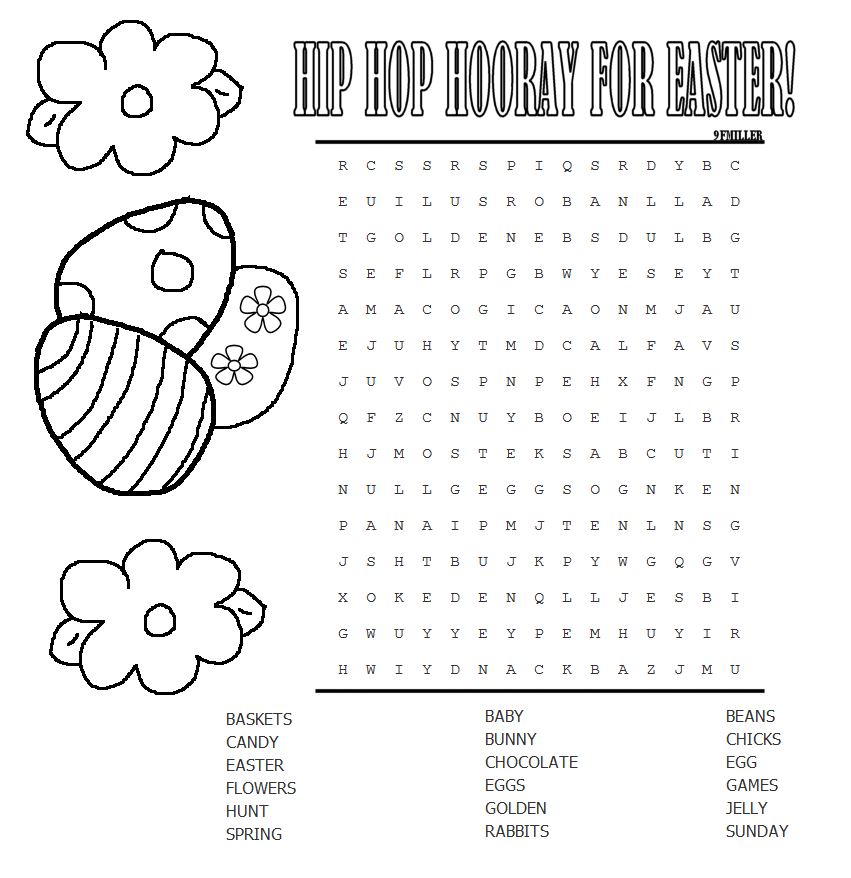 Punchy image in easter word search printable