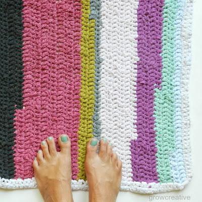 free crochet t-shirt rug pattern