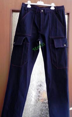 jeans trapuntati rosso