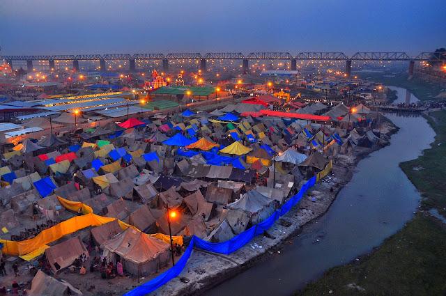 Kumbh mela 2013 ganga allahabad prayag tents top view
