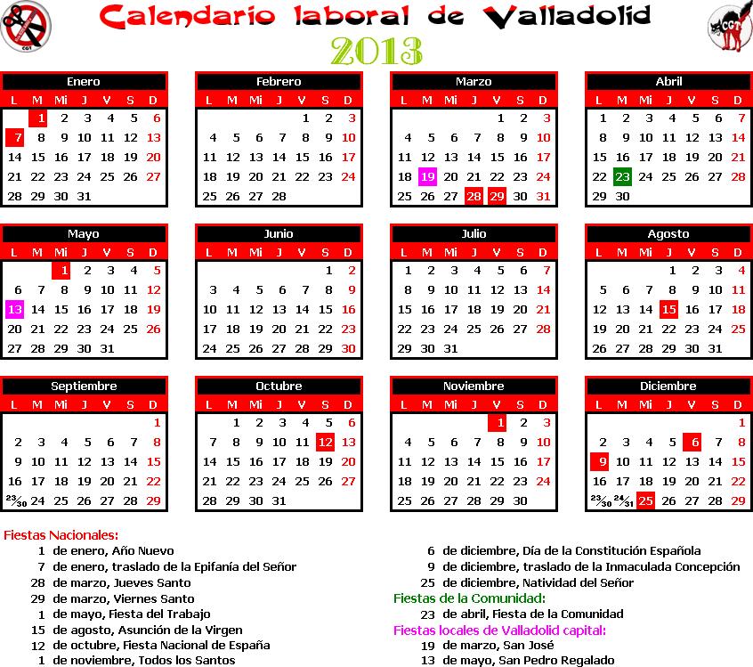Gatos sindicales valladolid calendario laboral 2013 for Calendario eventos madrid