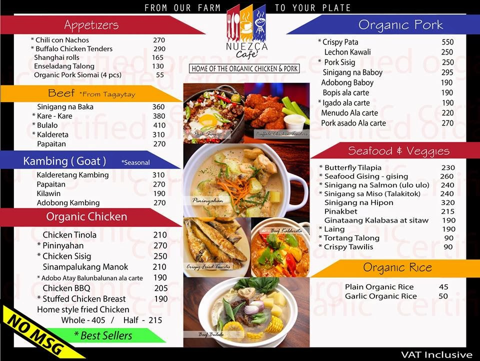 Nueza Cafe: Menu