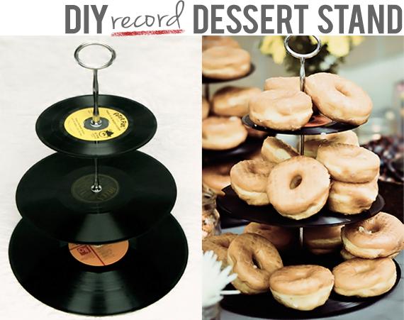 DIY Vinyl Record Dessert Stand // Bubby & Bean
