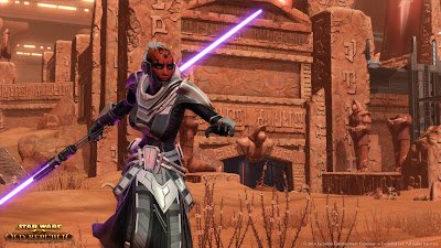 Assassin with Purple Double-bladed Lightsaber