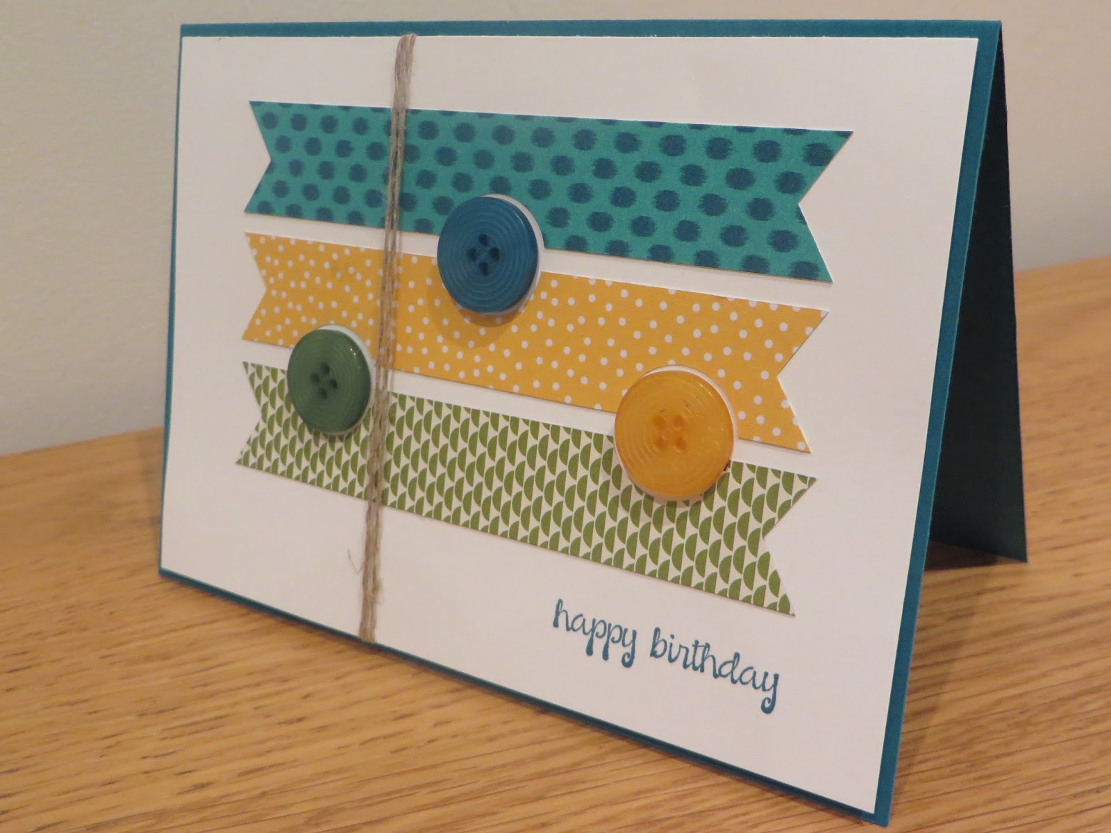 CraftyCarolineCreates Buttons and Pennants Happy Birthday Card – Stampin Up Birthday Card Ideas