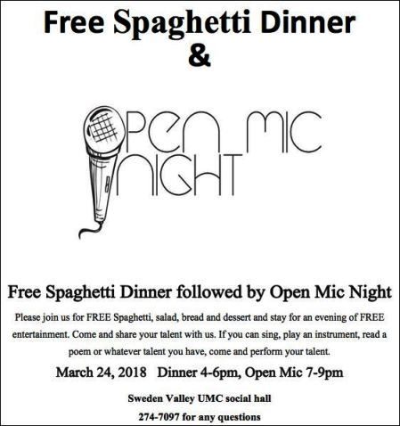 3-24 FREE Spaghetti Dinner, Sweden Valley UMC