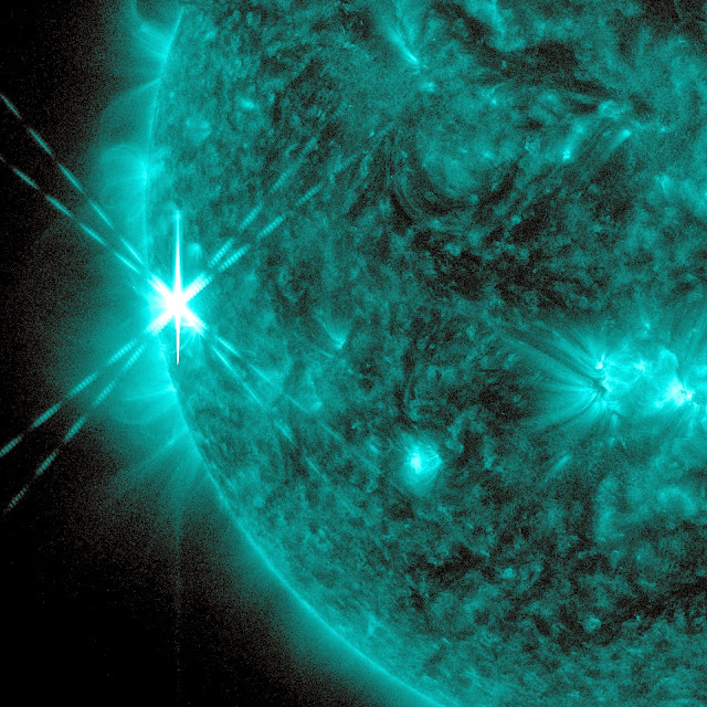 NASA's Solar Dynamics Observatory captured this image of an X1.7 class flare on Oct. 25, 2013. The image shows light in the 131-angstrom wavelength, which is good for seeing material at the intense temperatures of a solar flare, and which is typically colorized in teal. Image Credit: NASA/SDO
