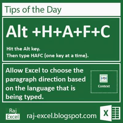 Microsoft Excel 2013 Short Cut Keys: Alt + HAFC