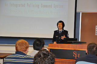 Yulu Ye (Crystal) explains the integrated police command system in China.