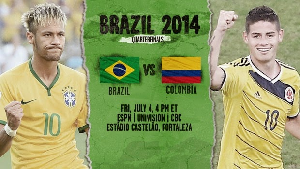 Brazil vs Colombia live 2014 FIFA WORLD CUP Quarter-finals