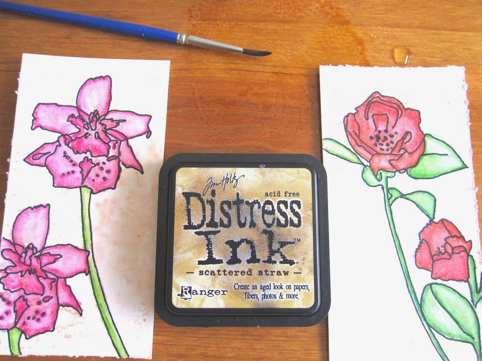 tercer paso tag abril:  cómo colorear si no se tienen distress markers, opción 2: distress ink, cómo usarlo