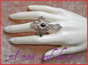 Bague Gothique Victorien Bijou Croix Argentée Silver Cross Gothic Goth Gothik Victorian Ring Jewel