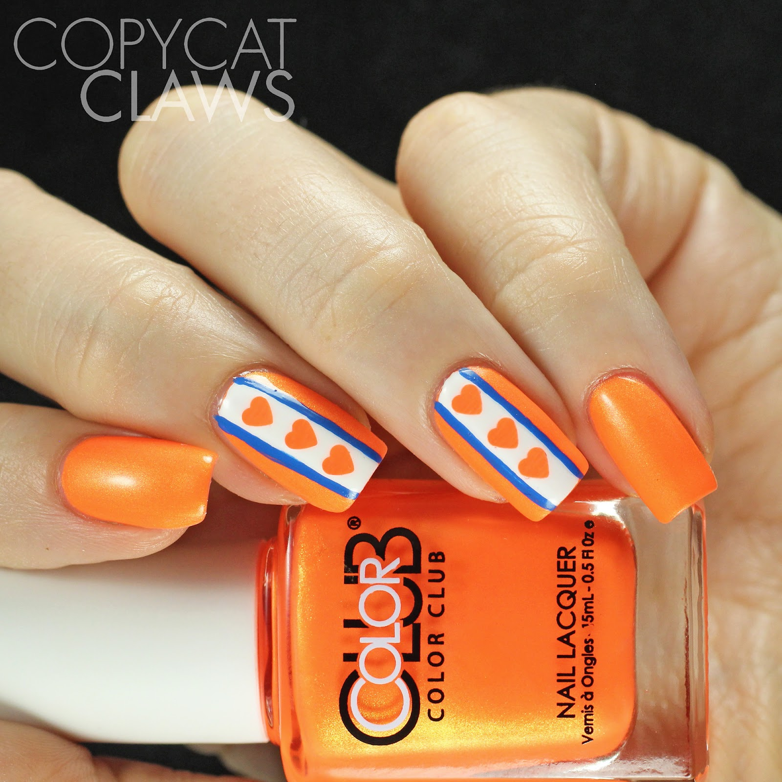Copycat Claws Blue Color Block Nail Art: Copycat Claws: Color Club Foxy Mama Nail Art