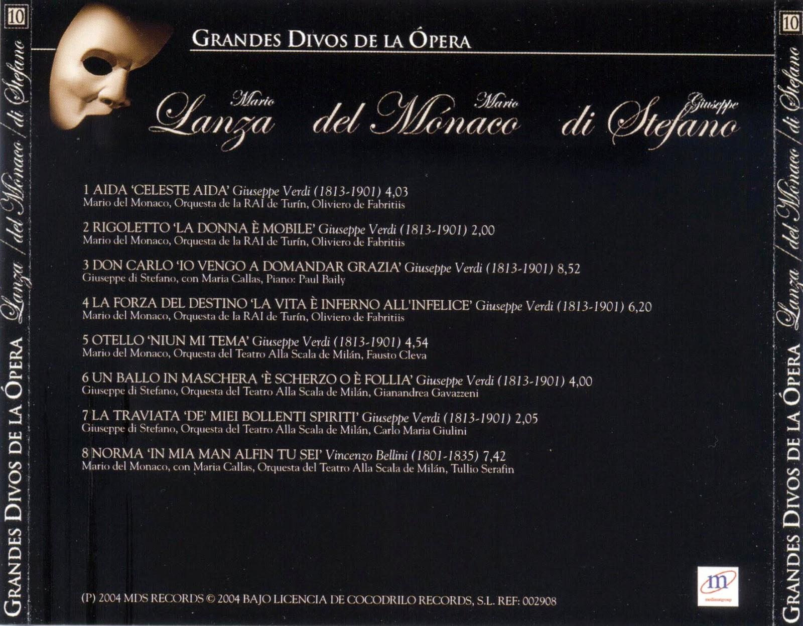 Grandes Divos de la Ópera-cd10-Mario Lanza, Mario del Mónaco & Giuseppe di Stefano-carátula trasera