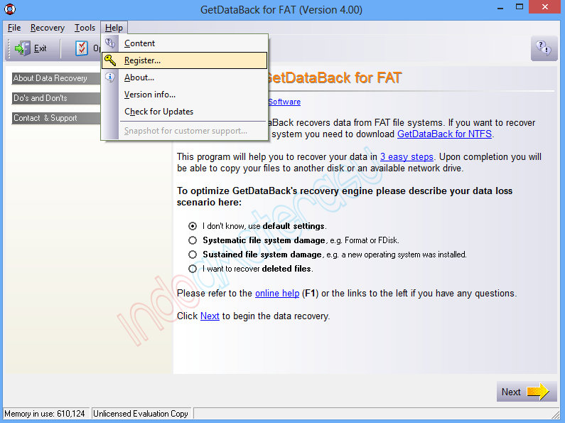 Cara install Get Data Back 7