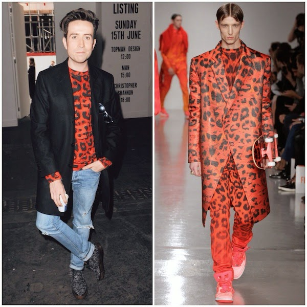 Nick Grimshaw red leopard print sweatshirt Katie Eary Spring Summer 2014 - London Collections Men SS2015