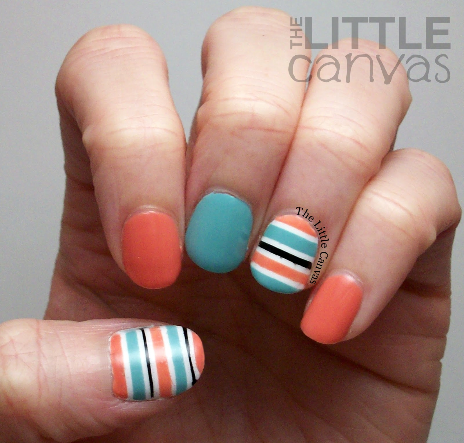 Striped Nail Art with Mary Kay Carefree Coral - The Little Canvas