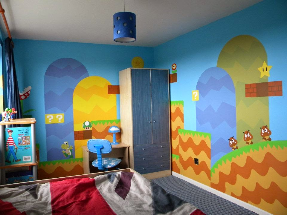 Super Mario Bedroom Mural by Artist Sarah. My Super Mario Boy  April 2014