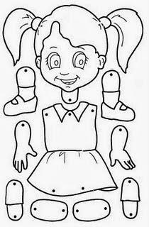 atividades educação infantil, corpo humano, recortar, montar, colar,menina