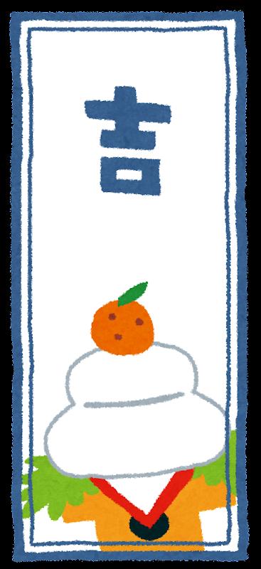 鏡餅の書かれた、「吉」のおみ ... : 2015年賀状無料テンプレート : 年賀状