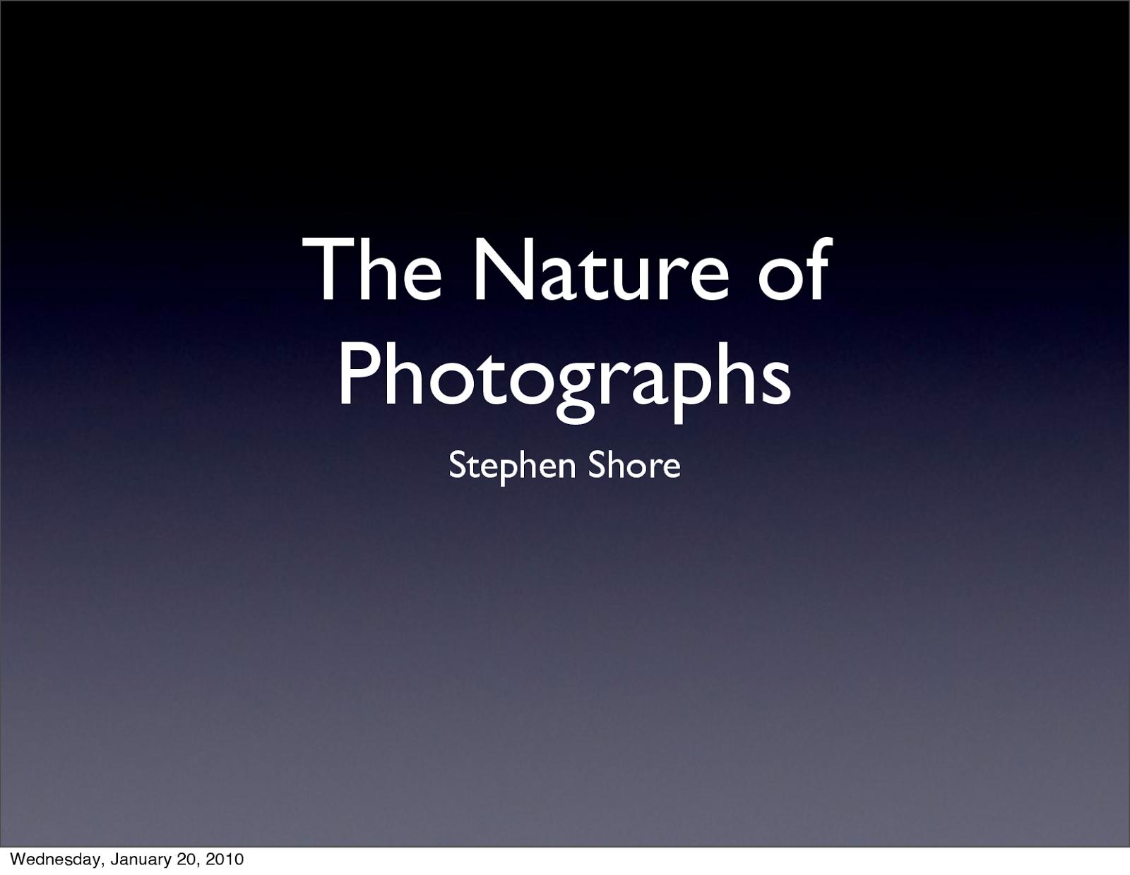 A natureza das fotografias