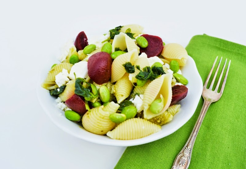 Edamame, Spinach, Feta and Beet Pasta Salad