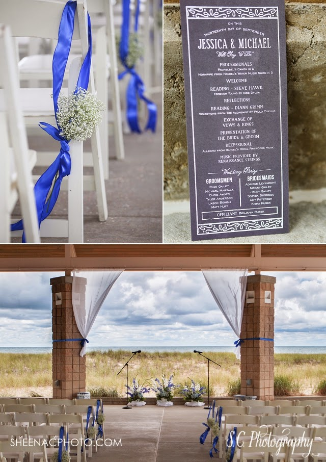 Jean Klock Park Beach Wedding on lake michigan. Blue pew bows.