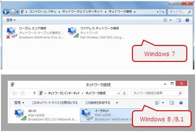Windows 7 / 8 / 8.1 アダプターの設定の変更