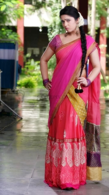 Charmi-kaur-peach-half-saree-photoshoot