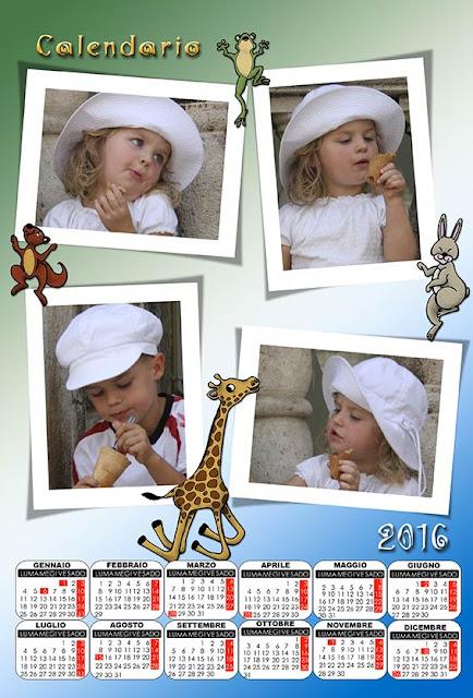 calendario per bambini 2016