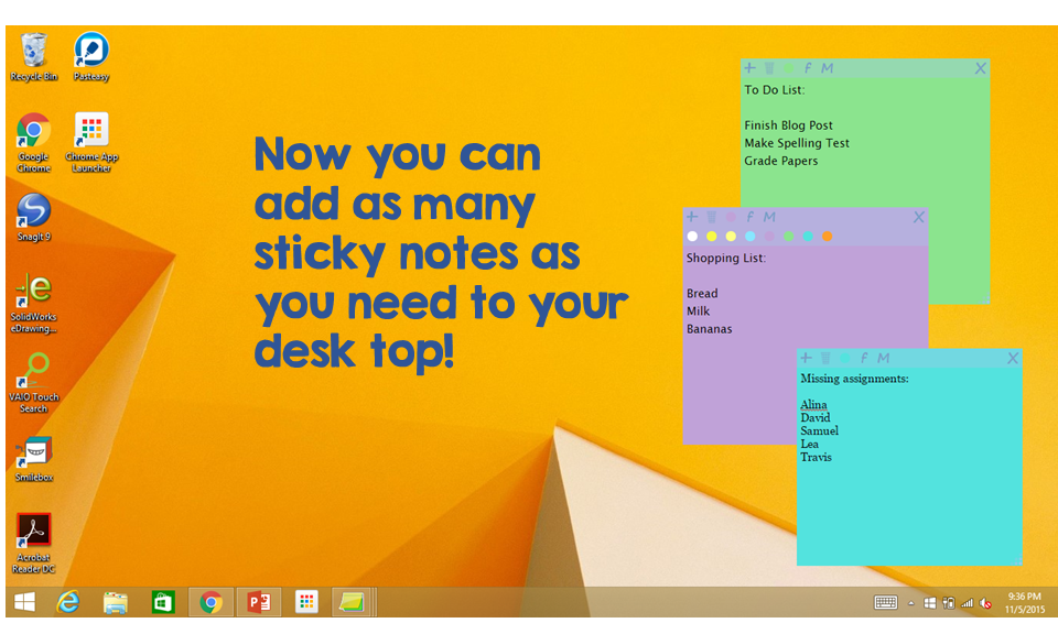 how to change colours in sticky notes win 10
