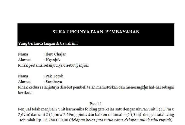 Contoh Surat Pernyataan Pembayaran