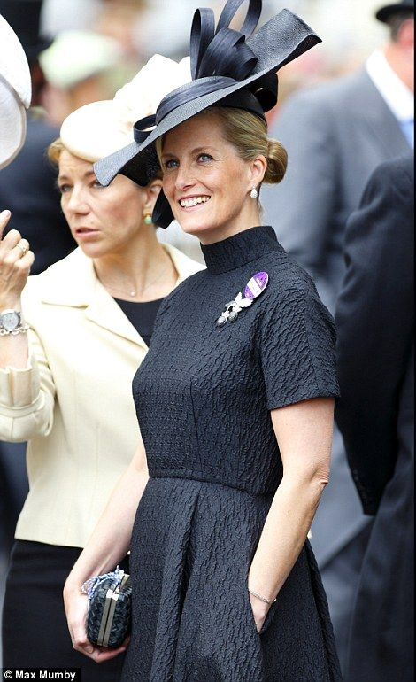 elegant Countess of Wessex in black outfit on Ladies' Day of Royal Ascot 2014