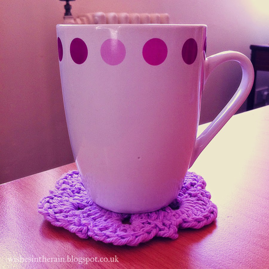 lacy coaster beneath a mug
