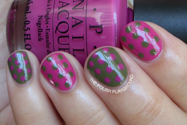 Green and Plum Polka Dots