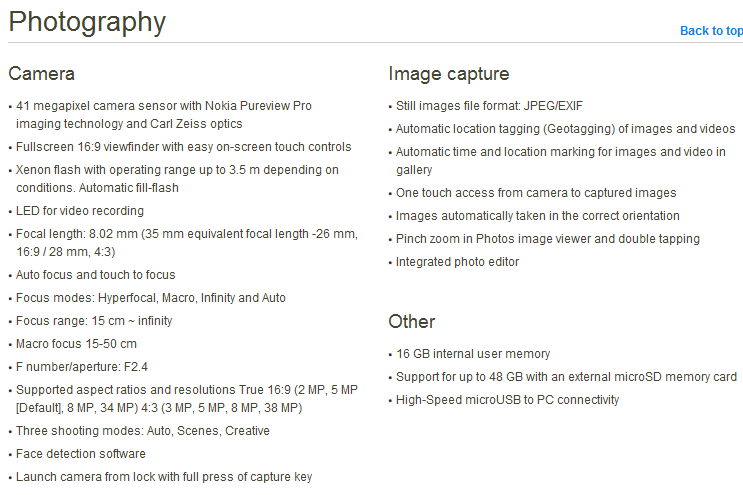 Nokia 808 PureView spcifications