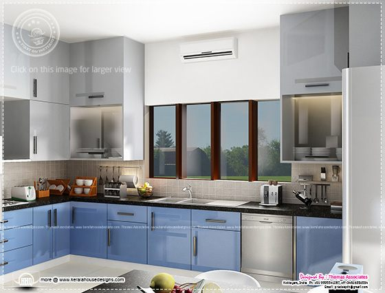 Blue toned kitchen interior