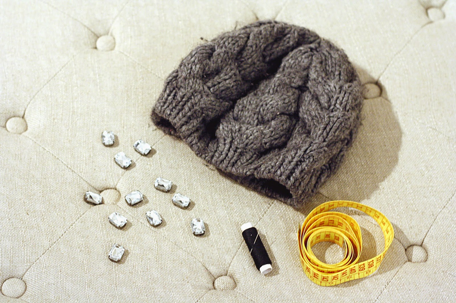diy facile bonnet strass