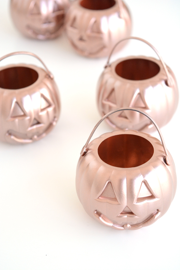 Oleander and Palm Mini Rose Gold Pumpkin Planters