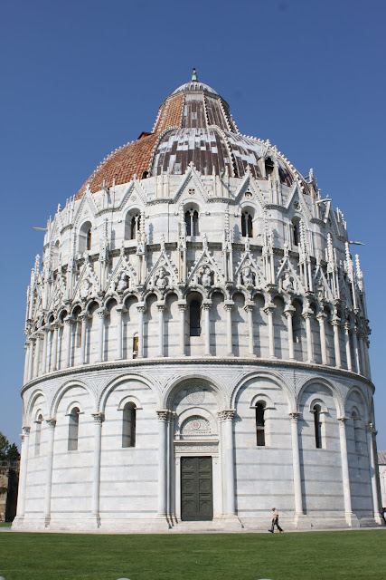 A close up look at the rear view of the Baptistery in Tuscany, Italy