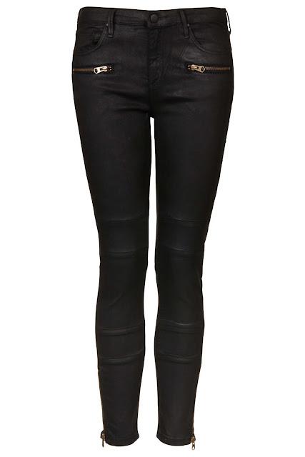 coated biker jeans