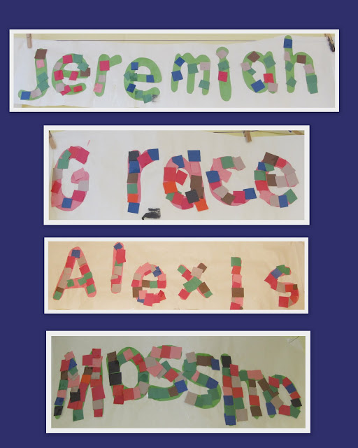 photo of: Bulletin board of Names and letter recognition, M is for Mosaic, Art projects for name recognition