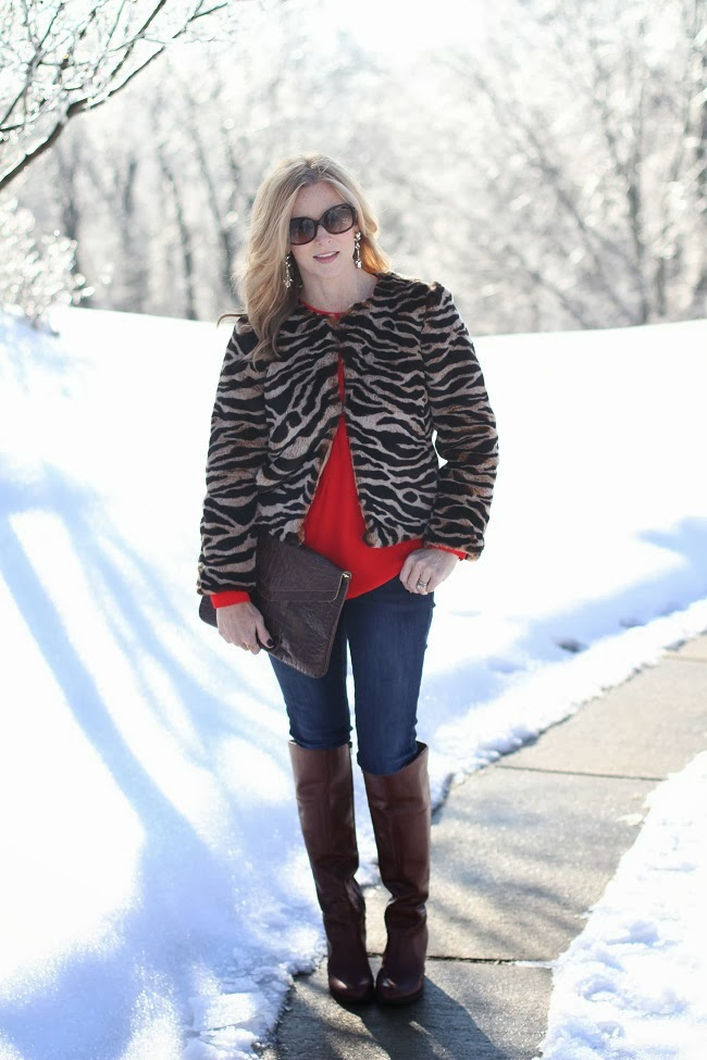 faux fur coat, holiday style, over the knee boots, crystal earrings, jcrew, Banana Republic, nine west, j brand,