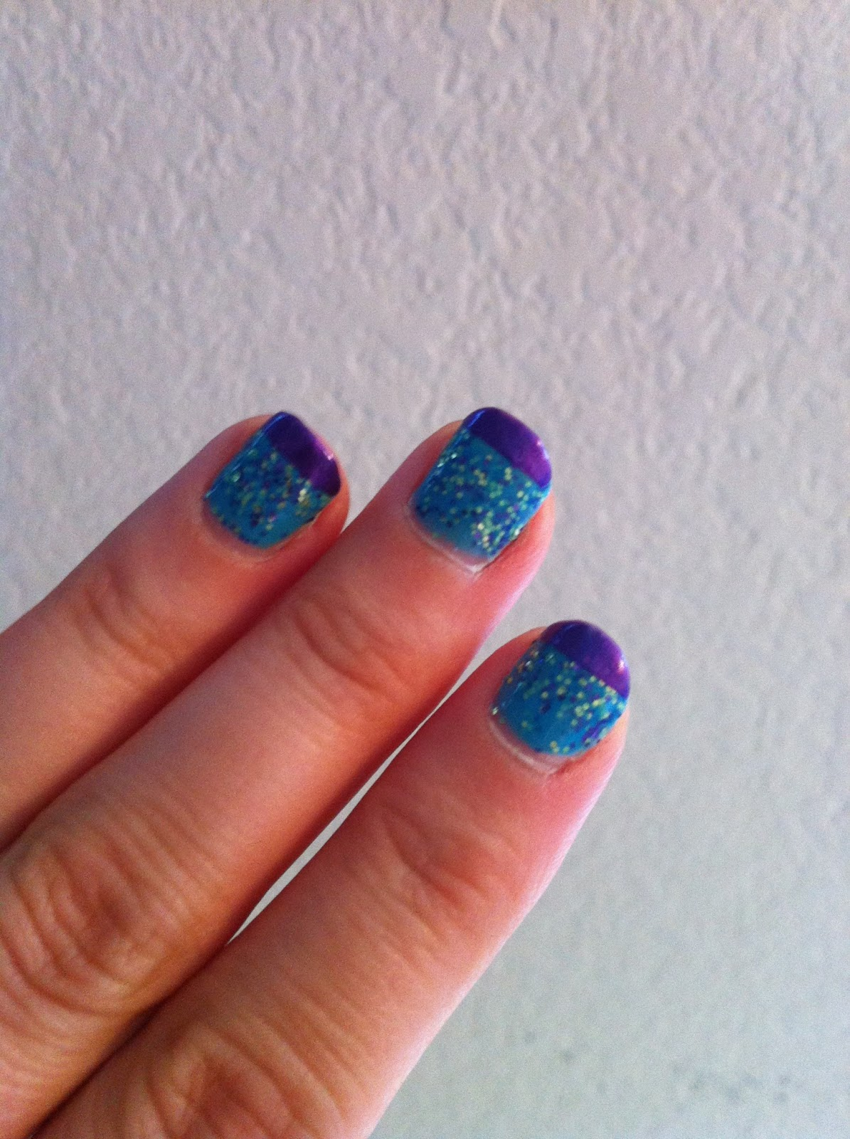 Cat\'s Colorful Claws: French Tips - W7 Mosaic and Julep Eden polish