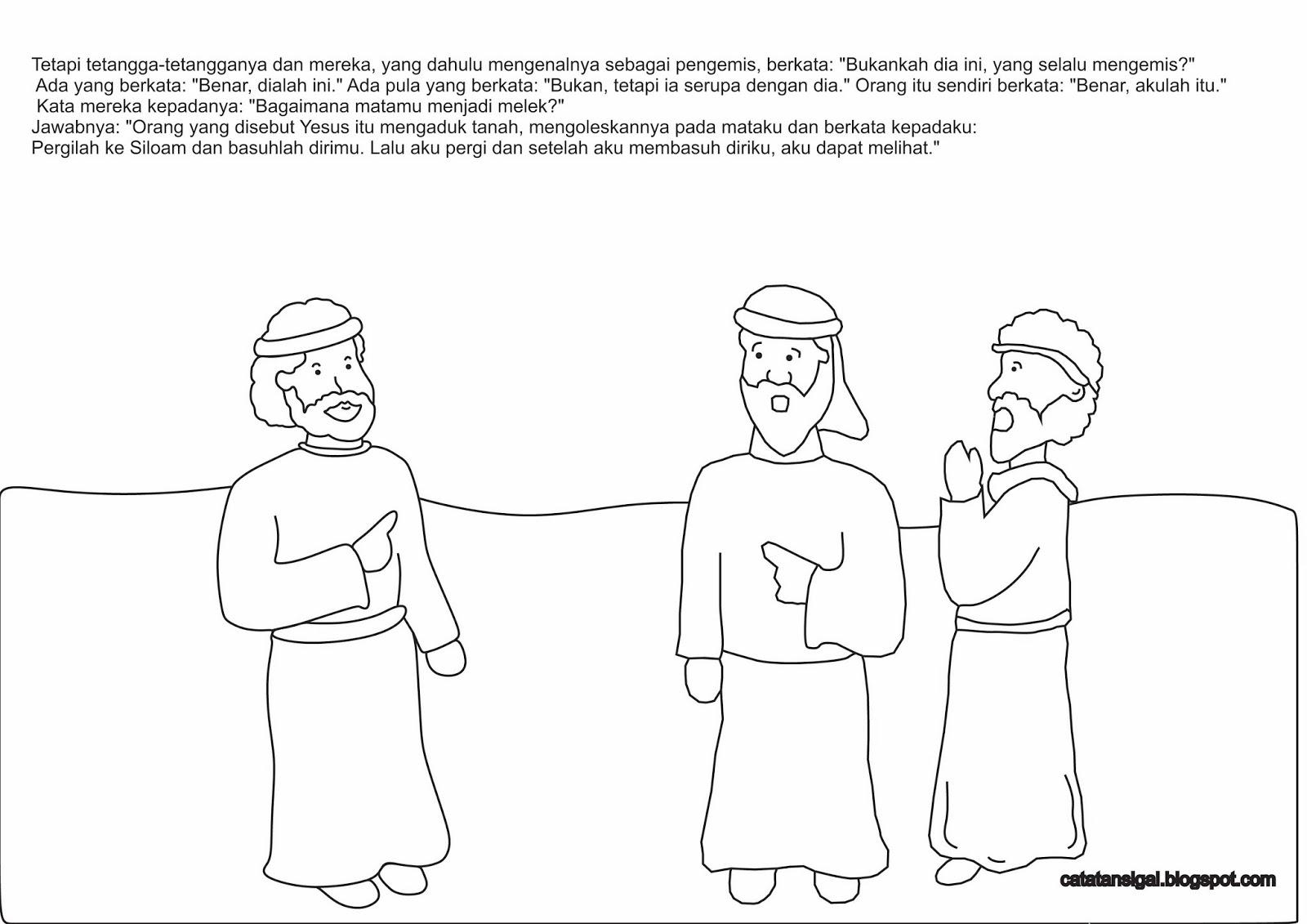 Mewarnai Gambar Yesus Menyembuhkan Orang Buta cerita bergambar Berwarna · kreativitas Yesus menyembuhkan orang buta
